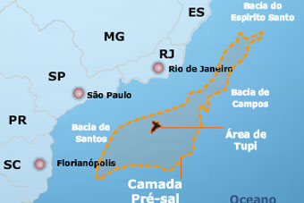 Ilustração do Mapa do Pré-Sal no Brasil